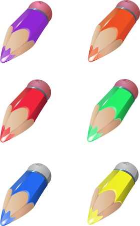 Six color crayons, two colors of rubber, fully editable  , layered Çizim