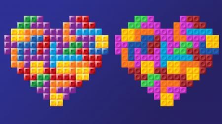 tetris: two tetris hearts, different figure design, similar colors, fully editable  , layered