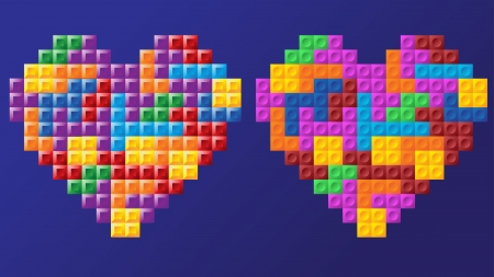 two tetris hearts, different figure design, similar colors, fully editable  , layered