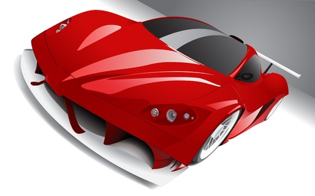 exotic car: fast racing red car, layered, fully editable