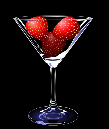 strawberies: strawberies in glass, layered, fully editable