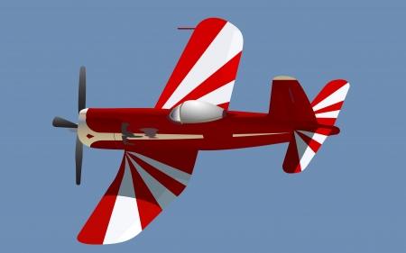 little red propeller plane, fully editable vector Çizim