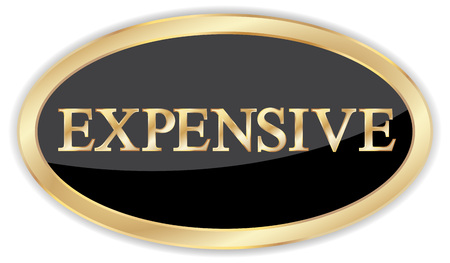 Gold expensive badge sign, fully editable vector
