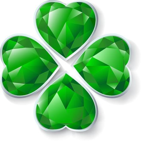 four leaves green diamond clover Vector