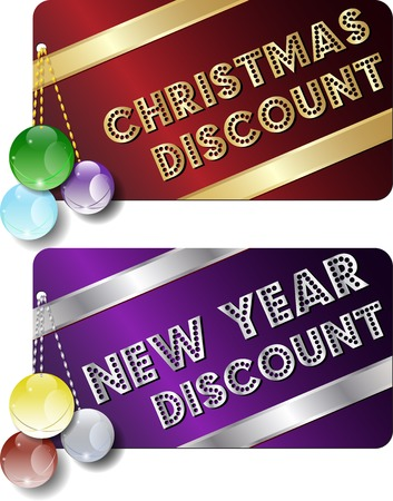 new year and Christmas discount gift cards with ornaments Çizim