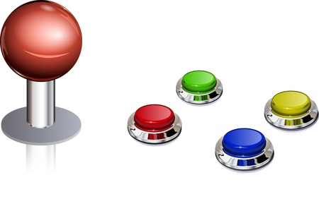 game pad: Arcade game vintage color controls, fully editable vector, layered