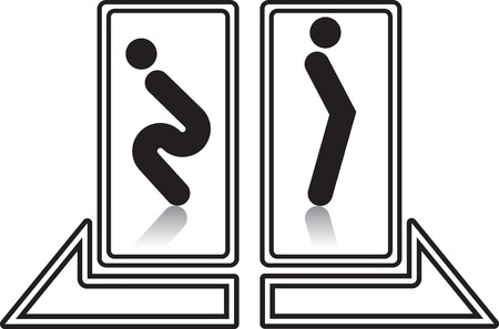 man and women wc sign: funny restroom wc sign
