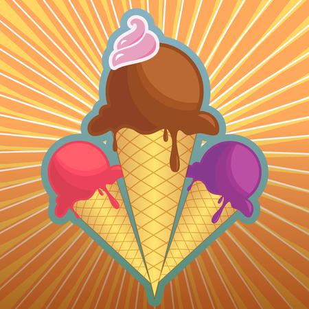 Retro ice cream illustration, fully layered vector