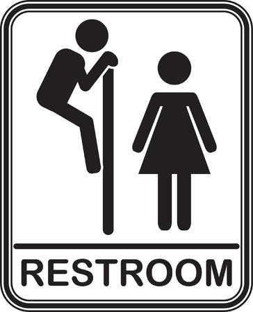 Funny restroom sign, fully editable vector EPS10 Çizim