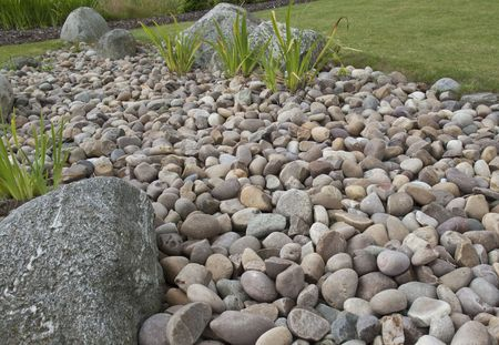 Pebbles  Rockery in Garden