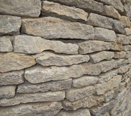 cotswold: Un primo piano di un Wal Cotswold in pietra a secco. Il muro � in un angolo .....