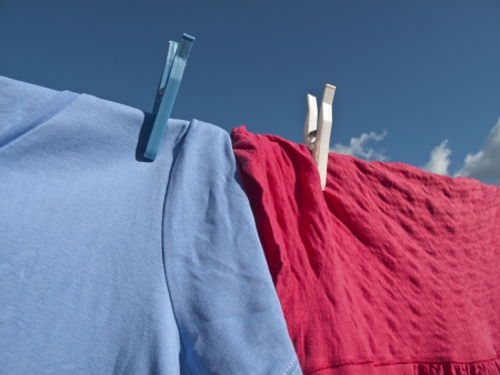 Washing hanging on a line with a lovely blue sky