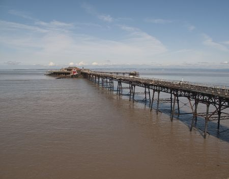 birnbeck: The Old Birnbeck Pier of Weston Super Mare, Somerset.  this pier has been left and neglected over the years.  In 2008 it was purchased by new owners who have plans to revive it....watch this space !! Stock Photo