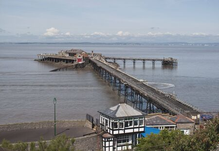 weston super mare: The Old Birnbeck Pier of Weston Super Mare, Somerset.  this pier has been left and neglected over the years.  In 2008 it was purchased by new owners who have plans to revive it....watch this space !! Stock Photo