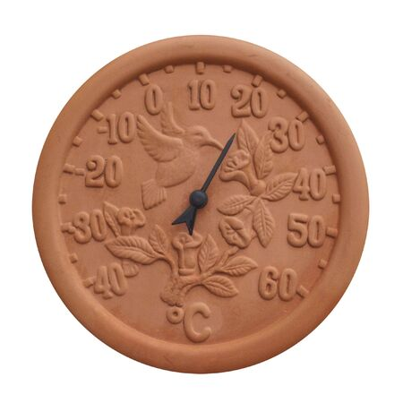 An isolated Terracotta thermometer isolated on a white background photo