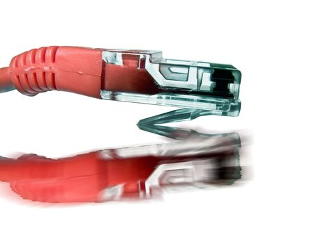 a red cat5 cable isolated on a white background with a reflection
