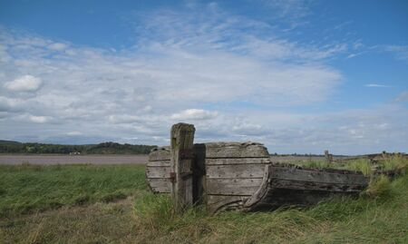 A shipwrecked boat in the Purton Hulks Graveyard, Gloucestershire