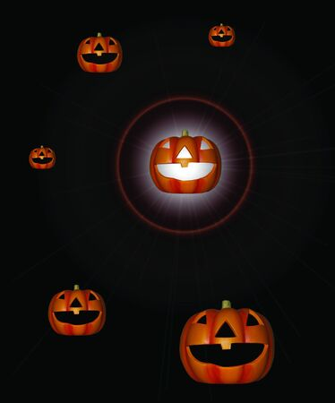 a family of pumpkins with a bright light shining from one Stock Photo - 5534700