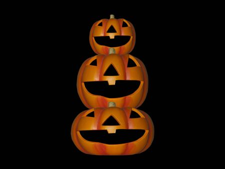 a stack of pumpkins on a black background Stock Photo - 5534697