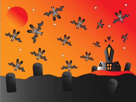 Bats flying around a church and graveyard Stock Vector - 5534702