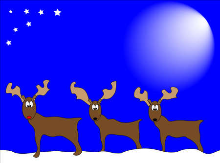 three reindeers lined up in the snow under a blue sky and bright sunlight Stock Photo - 5550496