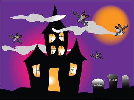 a haunted house with bats under a spooky orange sky Stock Photo