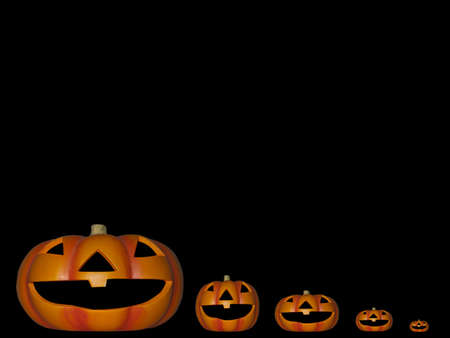 a family of pumpkins on a isolated black background photo