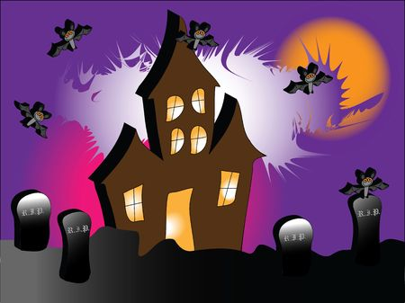 a haunted house with bats under a spooky purple sky photo