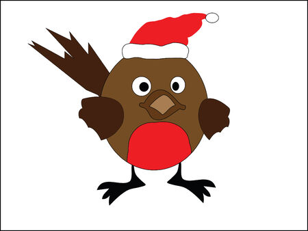 an illustration of a christmas robin red breast Illustration