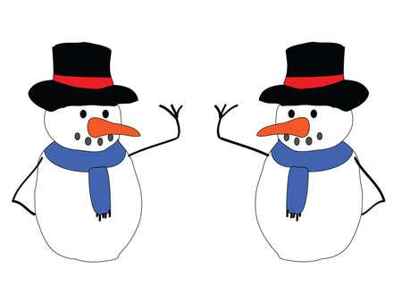 an illustration of a pair of snowmen Stock Illustration - 5582237