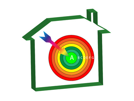 classify: energy ratings house with a target and arrow at the centre