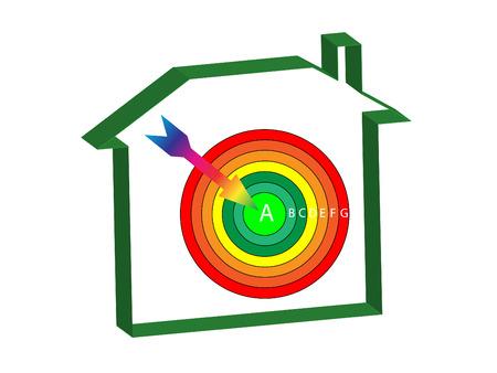 norm: grados de la energ�a casa con un objetivo y una flecha en el centro de