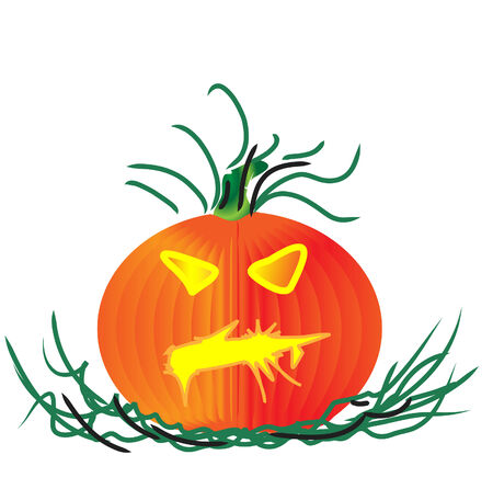 a halloween pumpkin with green stem and leaves Illustration