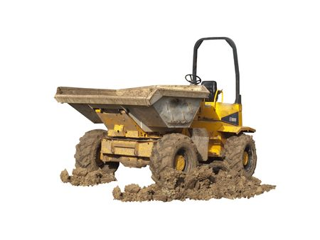 A Dumper Truck on a construction site with muddy wheels