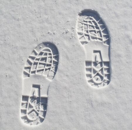 shoe print: foot prints in fresh snow