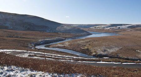 elan: panoramic view of the dams at Elan Valley, Rhayader, Powys