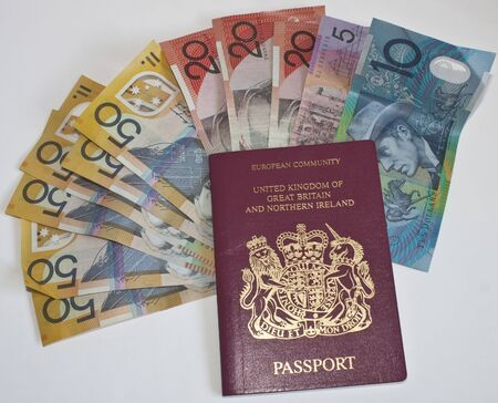 a passport with australian dollars as a background
