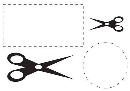 dotted lines: a square and round cut out coupon with scissors