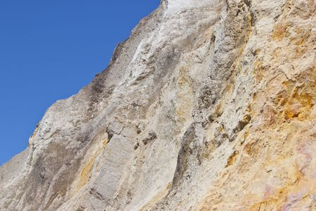 the multi-coloured sand cliffs at Alum Bay, Isle of Wight Stock Photo