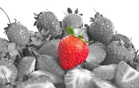 some summer strawberries - red on black on white