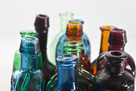 a closeup of colourful bottles with soft focus Stock Photo