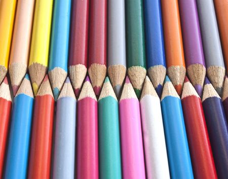 some colouring pencils linked together Stock Photo