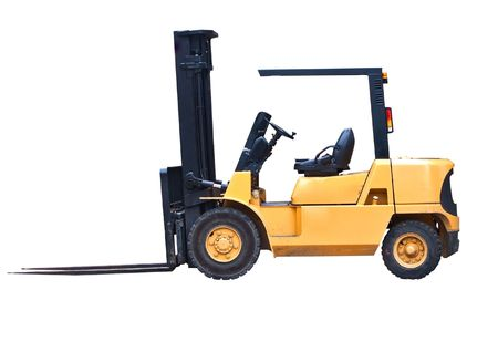 fork lifts trucks: an isolated fork lift truck on white background Stock Photo