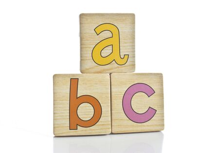 wooden tiles with the letters A B C Stock Photo