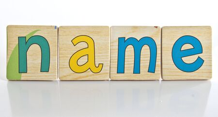 wooden tiles with the letters N A M E ( NAME ) Stock Photo
