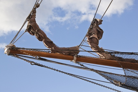 wooden ships bow with ropes and nets photo
