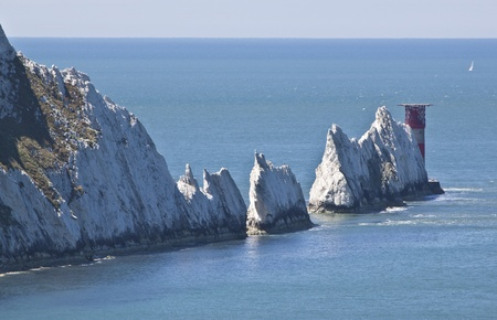 the famous needles on the south coast of the isle of wight Stock Photo