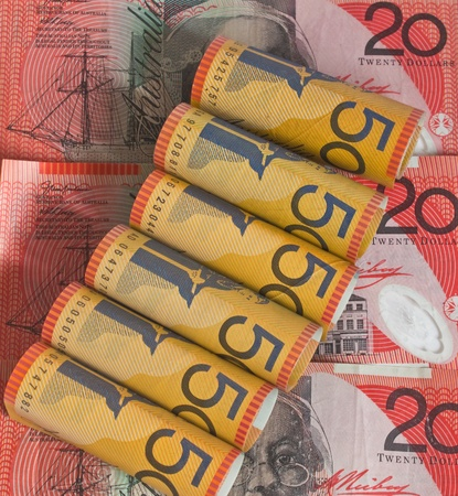 some Australian 20 and 50 notes rolled up