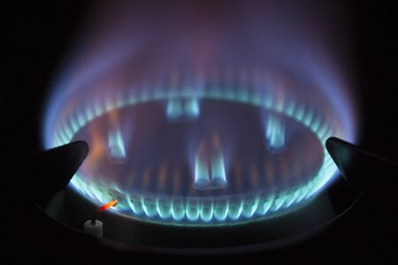 gas hob with blue coloured flame