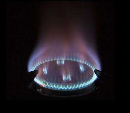 gas hob with blue coloured flame Stock Photo - 11328691